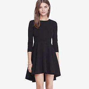 Express 3/4 Sleeve Hi Lo Hem Fit and Flare Dress